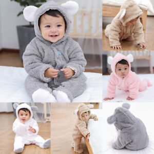 Toddler Kids Newborn Baby Girls Boys Rompers Fluffy Winter Warm Clothes Long Sleeve Hooded Jumpsuit Set