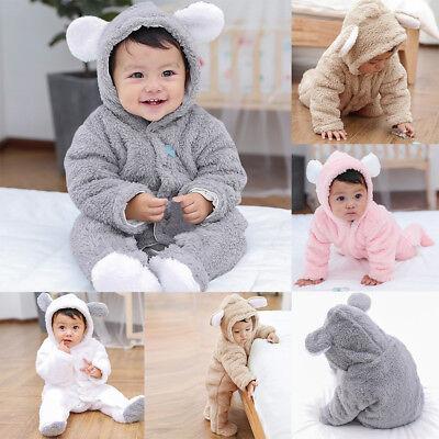 Infant Baby Girls Boys Long Sleeve Fluffy Hooded Jumpsuit Romper Coat Clothes BK