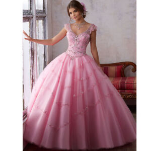 0a7646483 Image is loading Pink-Princess-Quinceanera-Dress-Bead-Ball-Gown-Graduation-