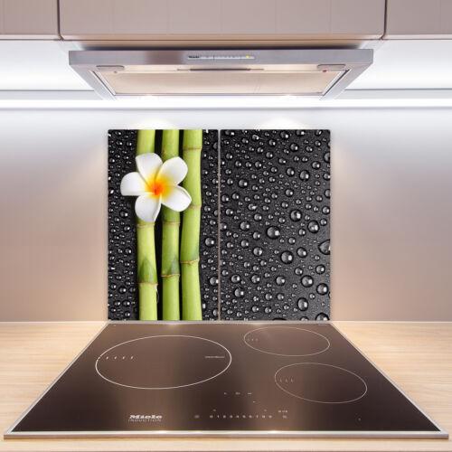 2x30x52 cm Herdabdeckplatten aus Glas Spritzschutz Frangipani-Blume