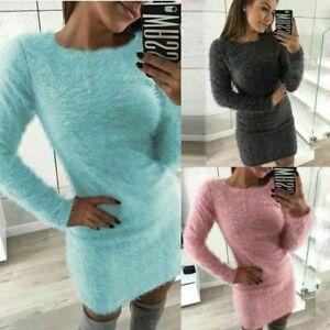 Plus-Size-Women-Autumn-Winter-Knit-Bodycon-Sweater-Mini-Dress-Tops-Knitwear