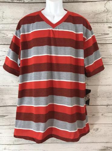 NWT G-Net Men/'s V-Neck Causal T-Shirt 3XL Striped Black Red Gray Short Sleeve