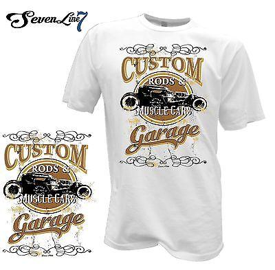 T-Shirt Hot Rod Oldscool Kustom Custom Car Vintage Garage Retro Rat Rod V8 USA