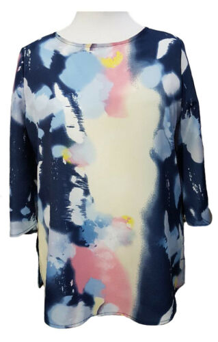 Plus Size Printed Tunic Tops 3//4 sleeves Boat neckline Summer Blouses size to 36