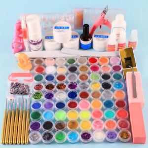 complete acrylic kit glitter art brushes false nails tips
