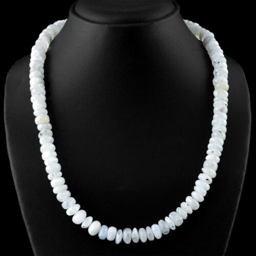 White Moonstone 446.50 Cts Natural 20 Inches Long Oval Shape Beads Necklace