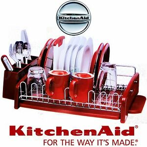 Kitchenaid red kitchen bench dish drying rack cutlery drainer caddy utensil new ebay - Kitchenaid dish rack red ...