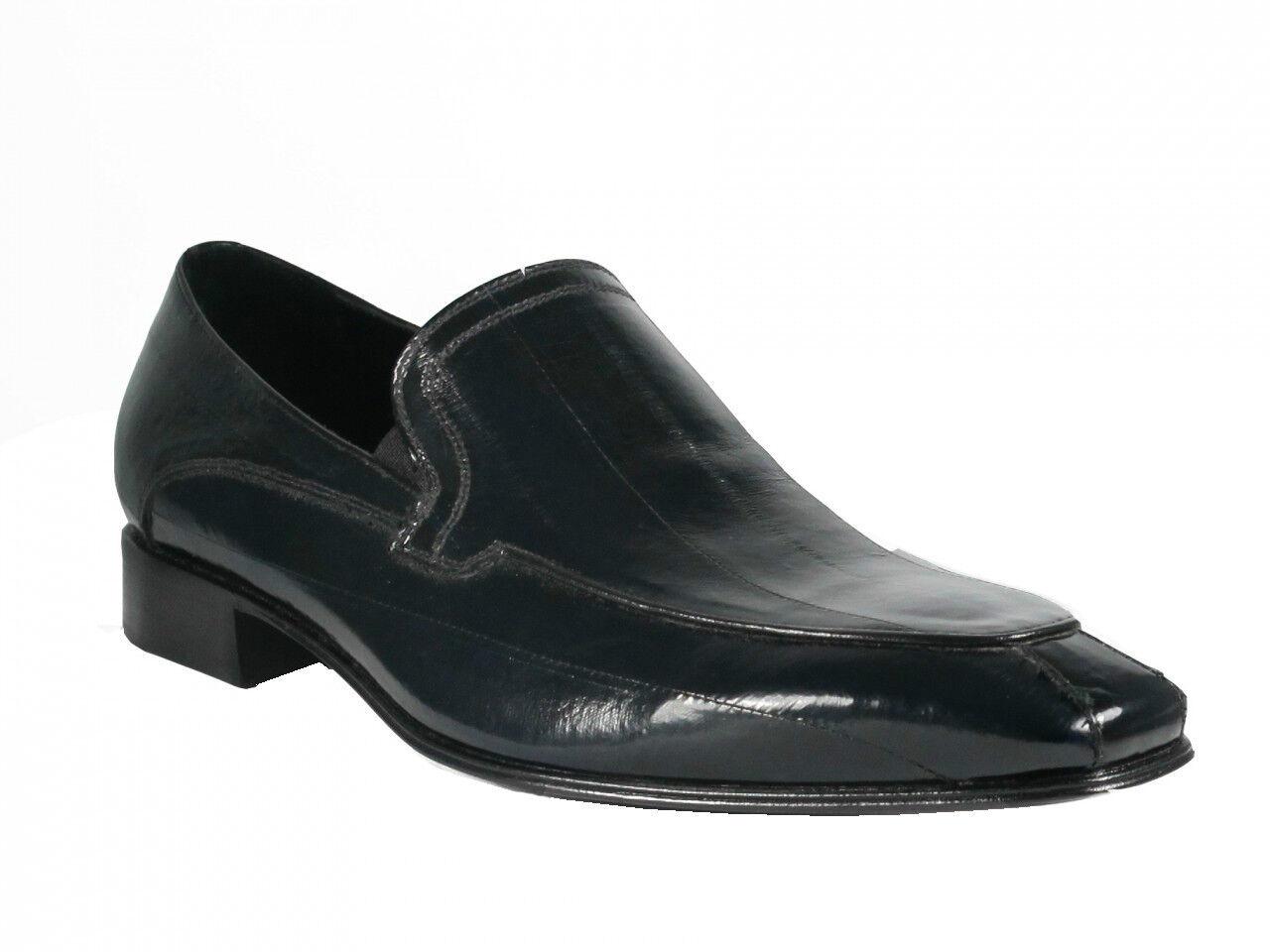 marche online vendita a basso costo Lancio Uomo Eel Skin Slip-on Italian scarpe 6692 nero blu blu blu  prezzo ragionevole