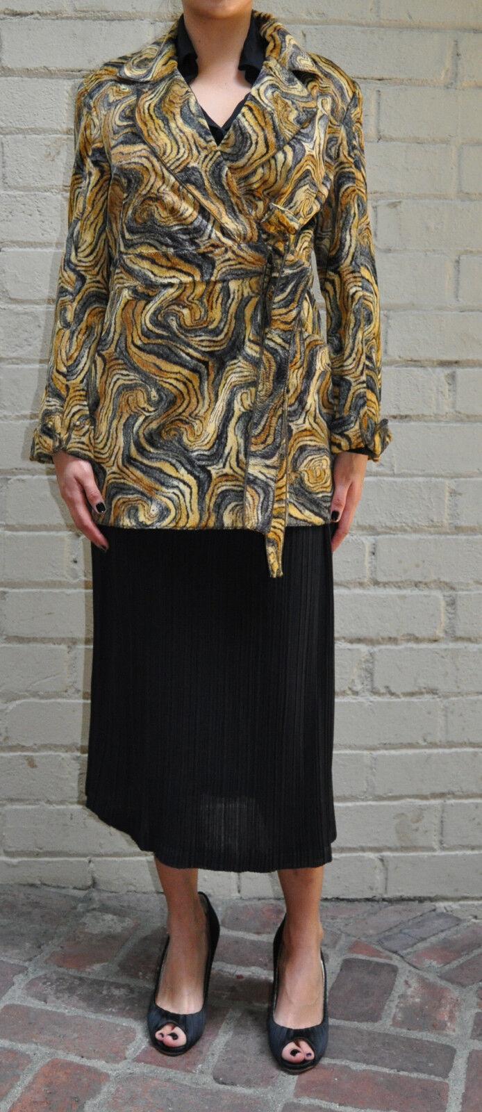 Ozbek Faux Fur Brown Belted Coat 8  Womens