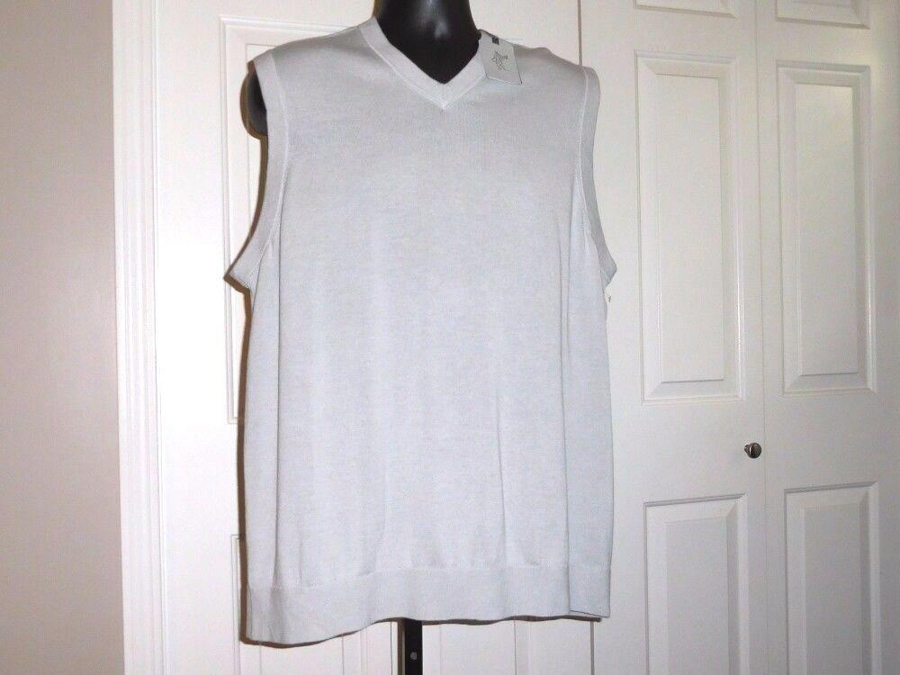 ASHWORTH MEN'S XL NWT Lined Sweater Vest Pebble or Sand 100% Cotton 1 2 Retail