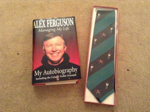 Alex Ferguson SIGNED Book with RARE Golf Pro AM Celebrity Tie