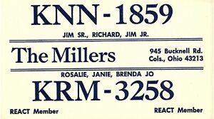 Vintage-QSL-Postcard-KNN-1859-Columbus-Ohio-Jim-SR-Richard-Jim-Jr-Miller-T