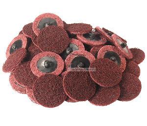 "50X 2/"" Medium Roloc Scotch Brite Roll Lock Surface Sanding Disc RED //MAROONUK"