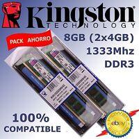 Memoria RAM DDR3 8GB (2x4GB) 1333Mhz - Kingston ¡ NUEVAS ! - 100% COMPATIBLE