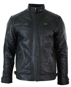 da uomo biker classico con pelle cerniera Giacca autentico morbido stile nero in pEaHqH
