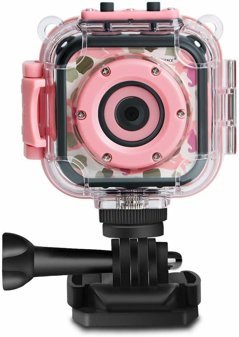 Kids Action Camera Waterproof Digital Video HD 1080P 1.77'' LCD Screen (Pink) 1080p action camera digital kids lcd screen video waterproof