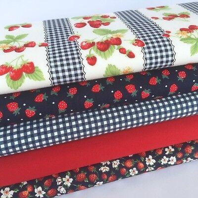 Bundle 5 fat quarters strawberry gingham & navy delicious ! 100 % cotton