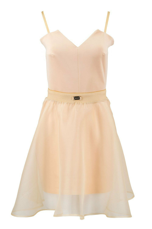 NWT  317 ITALIAN Prom Tea Dress DETACHABLE SILK SKIRT Beige Size XS 6 8 SISTES