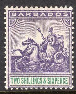 Barbados1892-violet-green-2-6d-perf-14-crown-CA-watermark-mint-SG115