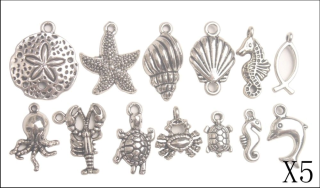 Mix Lots 65PCS Antiqued Silver Metal Bali Sea Animal Charms for Jewelry Making
