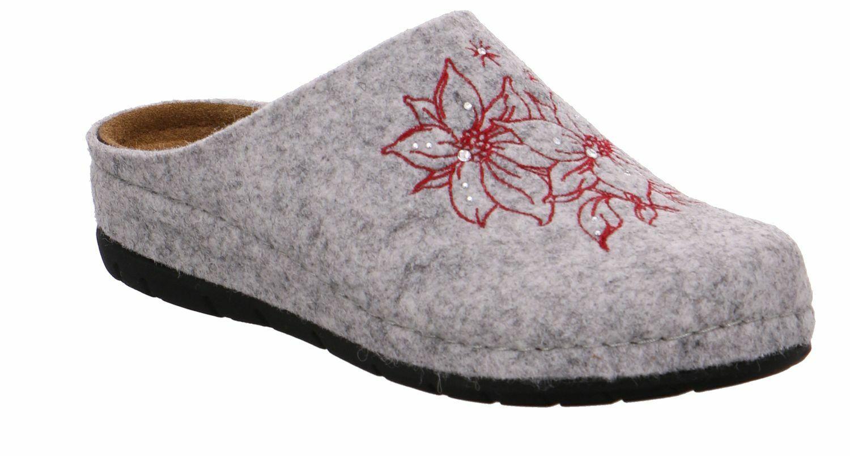 Rohde Rodigo Damen Pantoffeln Pantolette Hausschuhe 6024 Platin Softfilz