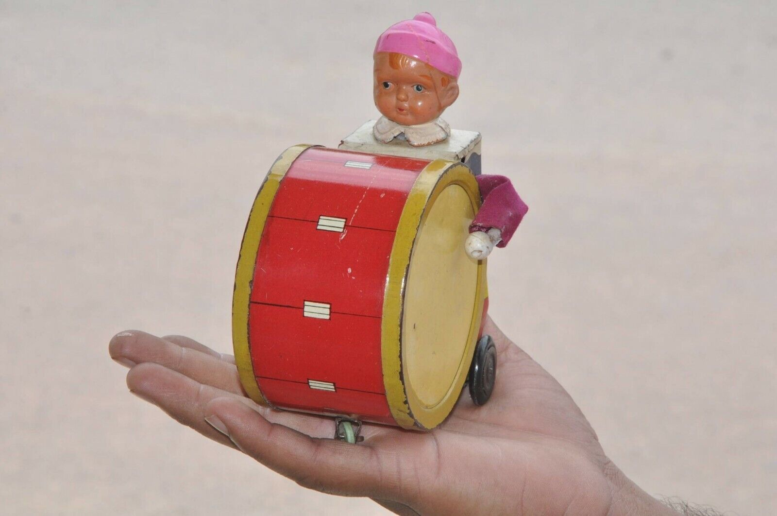 Vintage Wind Up Circus Clown Playing Drum Litho Tin Toy