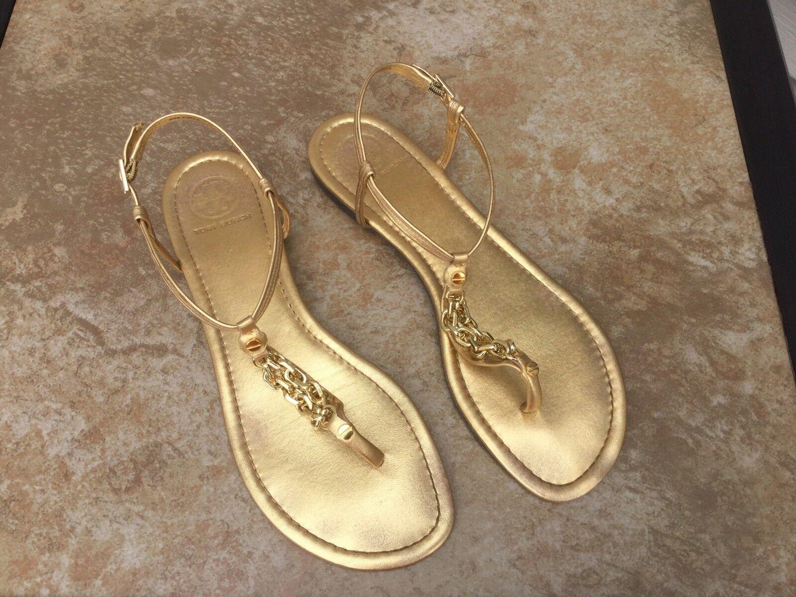 """Tory Burch gold """"Shane-Metallic Mestizo"""" SZ 10 Ankle Strap Sandals"""