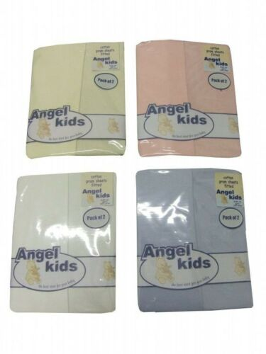 FITTED PRAM BOYS//GIRLS FITTED SHEETS COTTON 2 PACK BABY WHITE,CREAM,PINK,BLUE