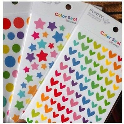 3 Sheet Rainbow Sticker Diary Planner Journal Scrapbook Photo Decorative Ablums