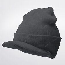 a1c363f7f63 Bill Visor Cuff Beanie Knit Cap Hat Ski Thick Brim Warm Winter Unisex US  MADE