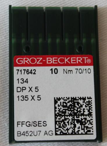 10 GROZ-BECKERT Jersey 134 FFG Maschinennadeln DP X 5 Rundkolben Nm 70/10 OVP