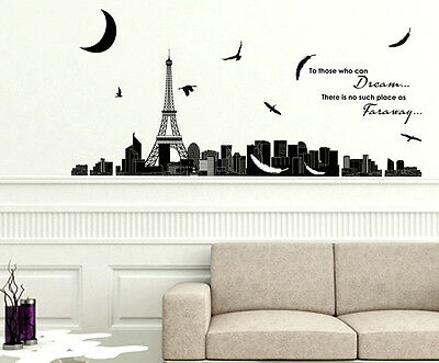 6900089 | Wall Stickers Dream Quote With Eiffel Tower Skyline Silhouette