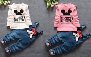2pcs-Toddler-Baby-Girls-Minnie-Outfits-tops-Denim-pants-kids-Clothes-Set
