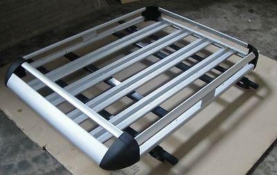 140cmx112cm Aluminium Car/4WD Roof Rack Luggage Cargo Basket + 2xCross Bar