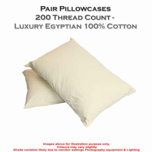 NEW PAIRS /& SINGLE 200 THREAD COUNT PILLOWCASE 100/% EGYPTIAN COTTON PILLOWCASES