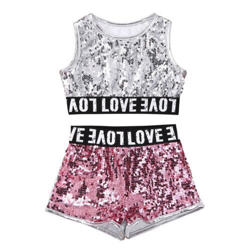 Girls Kids 2-Piece Dance Fishnet Outfit Crop Top+Bottoms Jazz Gymnastics Leotard