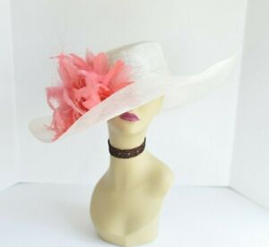 8b353862 Details about M58(Ivory/Coral)Kentucky Derby Church Wedding Royal Ascot  Wide Brim Sinamay Hat