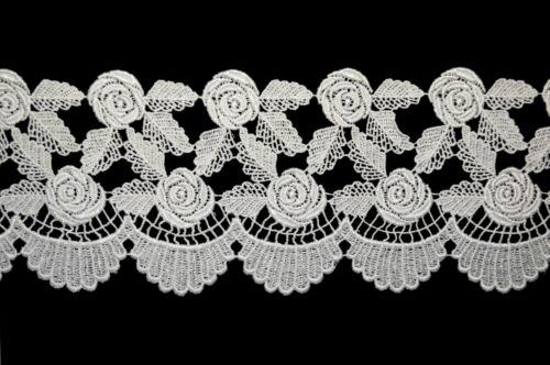 "4.5"" White Rose Flower Leaf Scalloped Guipure Trim Floral Venice Lace by Yardage"