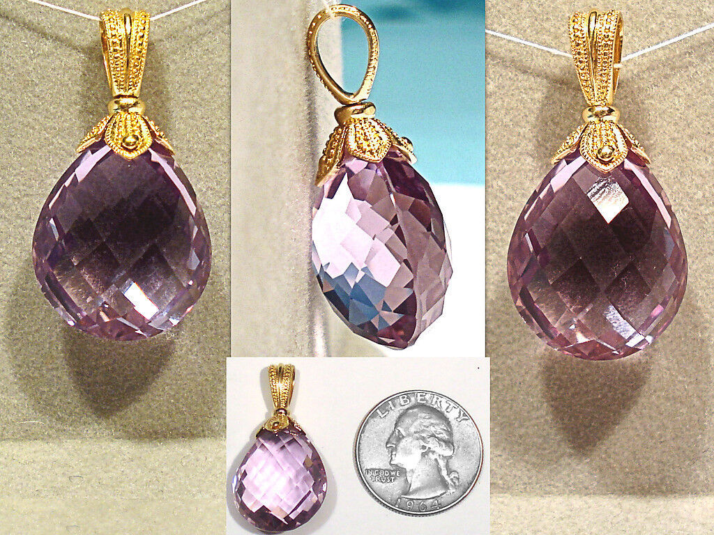 SOLID 14K YELLOW gold & 25+CT AMETHYST PENDANT