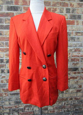 ESCADA BY MARGARETHA LEY DOUBLE BREASTED ORANGE JACKET BLAZER SIZE 34