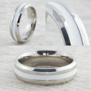 6mm-Silver-amp-White-Stainless-Steel-Wedding-Ring-Mens-Womens-Band-Size-J-to-Z