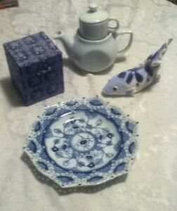 Asian-Oriental-Blue-White-Fish-Scallop-Lace-Plate-Brocade-Box-Stack-Tea-Pot-Cup