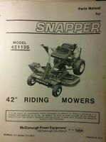 Snapper 42113s 42 Riding Lawn Mower Tractor Parts Manual 14pg 1981 Rear Engine