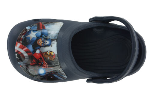 Boys Avengers Blue Slip On Holiday Beach Sandals Clogs Mules Kids Sizes 6 to 12