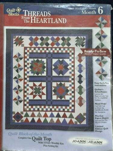 JoAnn/'s THREADS FROM THE HEARTLAND Quilt Block Month Kit w//fabric /& instructions
