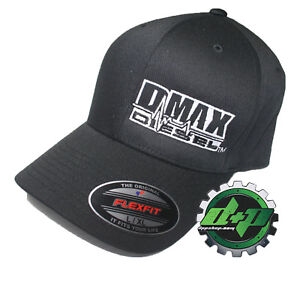 L XL DMAX Diesel Flexfit fitted stretch fit trucker black cap hat ... 7a12ecb6ffad