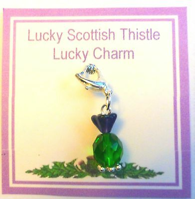 Escocés Cardo De Vidrio Hecho A Mano De Buena Suerte Encanto en tarjeta de regalo encanto de la suerte