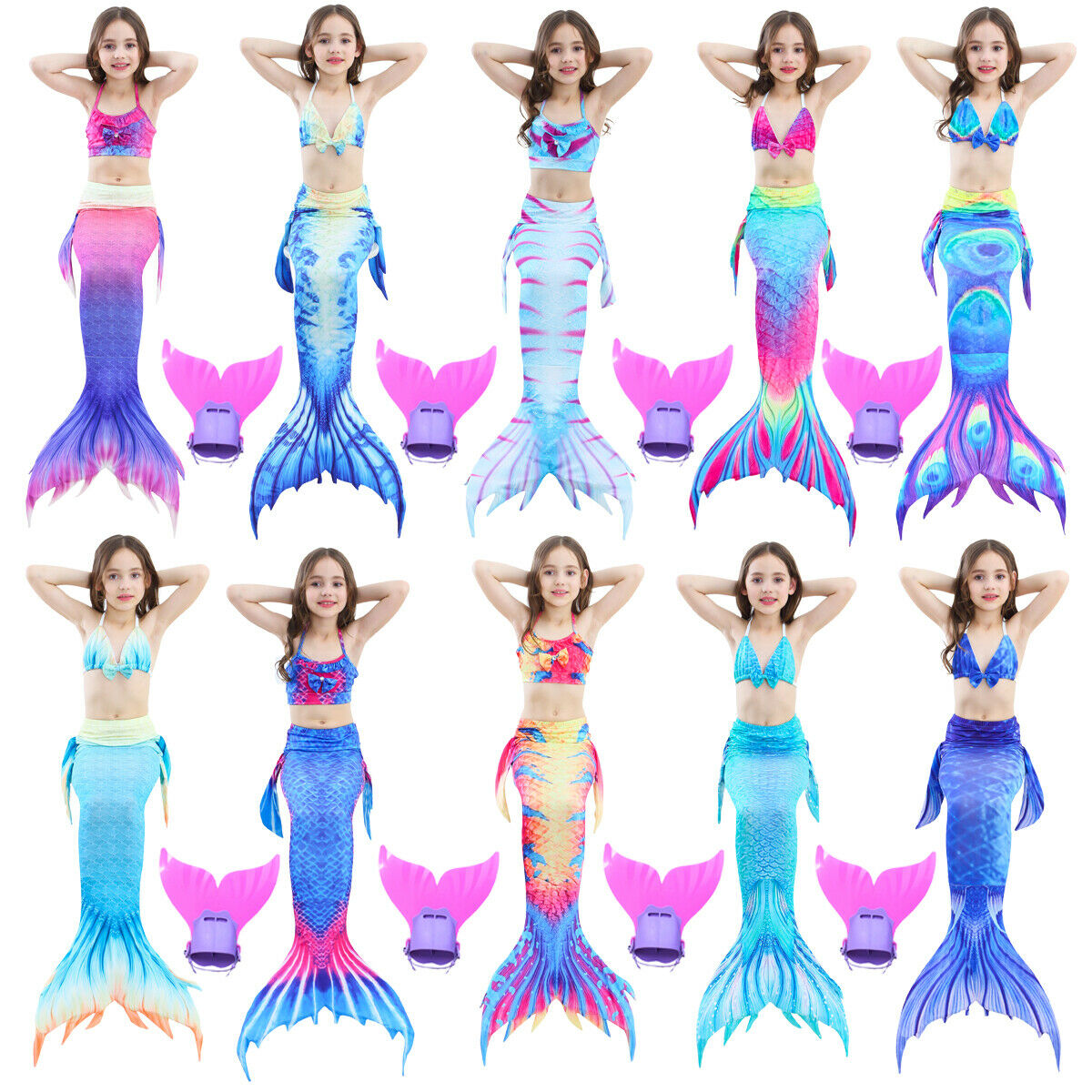 3/4er Kinder Mädchen Schwanzflosse Bikini Badeanzug Bademode Meerjungfrau Kostüm
