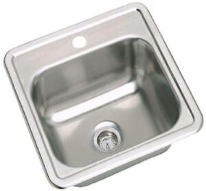 Elkay Single Bowl Kitchen Sink Drop In Stainless Steel Finish 15 In