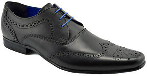 185-RED-TAPE-Noir-Cuir-Bout-D-039-Aile-Elrick-Robe-lacets-derbies-homme-chaussures